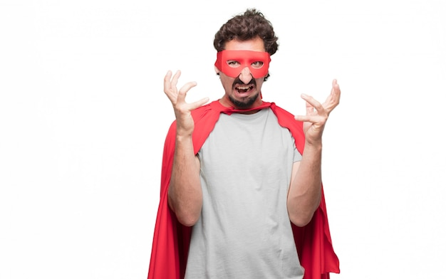 Man in superhero dress with angry expression