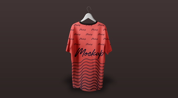 Man t-shirt mockup hanging red dark background