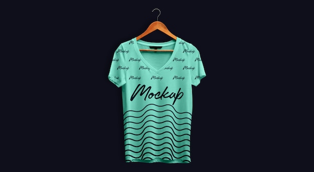 Man t-shirt mockup v neck teal hanging