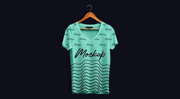 Man t-shirt mockup v neck teal hanging