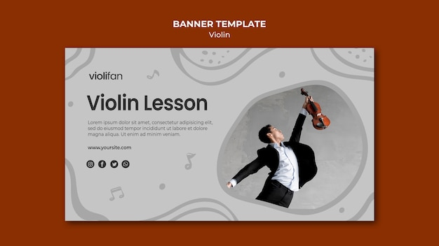 Man and violin lessons banner template