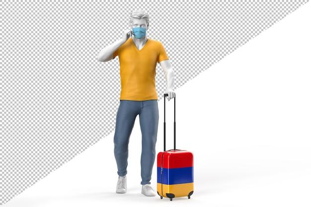 얼굴 마스크를 쓴 남자가 아르메니아 국기가 새겨진 여행 가방을 당깁니다. 3d 렌더링