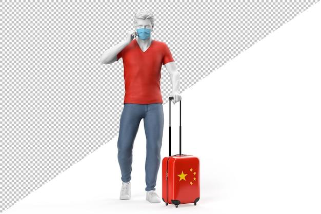 フェイスマスクを身に着けている男は、中国の旗でテクスチャリングされたスーツケースを引っ張る
