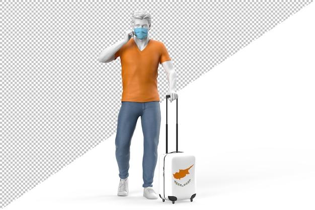 안면 마스크를 쓴 남자가 키프로스 국기가 새겨진 가방을 당깁니다. 3d 렌더링