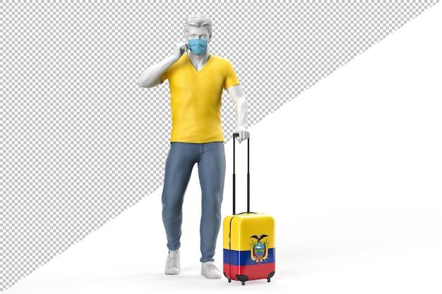 얼굴 마스크를 쓴 남자가 에콰도르 국기가 새겨진 가방을 당깁니다. 3d 렌더링