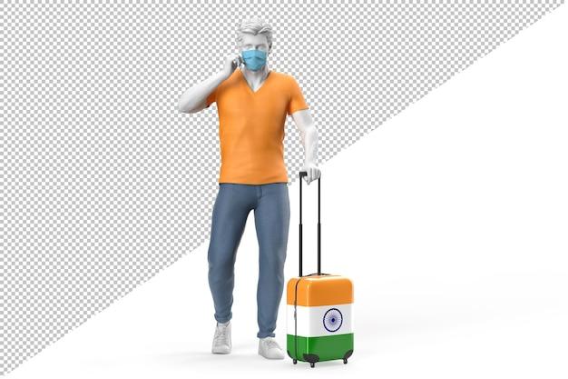 안면 마스크를 쓴 남자가 인도 국기가 새겨진 여행 가방을 당깁니다. 3d 렌더링