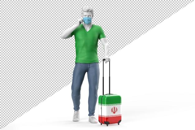얼굴 마스크를 쓴 남자가 이란 국기가 새겨진 여행 가방을 당깁니다. 3d 렌더링
