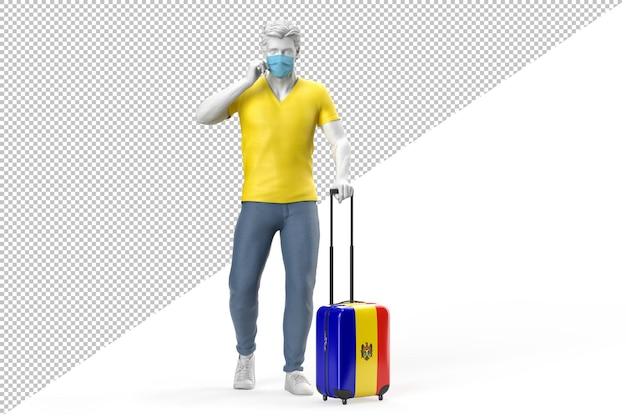 얼굴 마스크를 쓴 남자가 몰도바 국기가 새겨진 여행 가방을 당깁니다. 3d 렌더링
