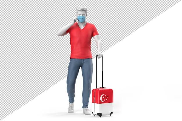 얼굴 마스크를 쓴 남자가 싱가포르 국기가 새겨진 여행 가방을 당깁니다. 3d 렌더링
