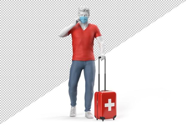 フェイスマスクを身に着けている男は、スイスの国旗がテクスチャード加工されたスーツケースを引っ張る。 3dレンダリング