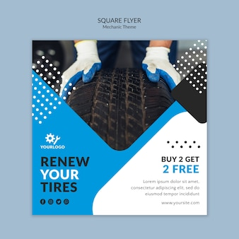 Man wearing gloves and holding a tire square flyer