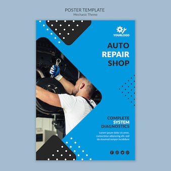 Man wearing gloves mechanic flyer template