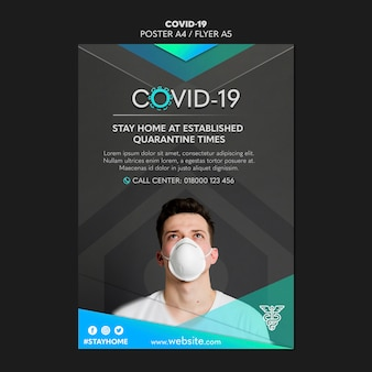 Man wearing a mask covid-19 flyer template