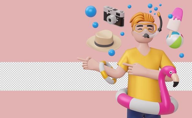 Мужчина в маске для подводного плавания в плавательном кольце фламинго с пляжными аксессуарами