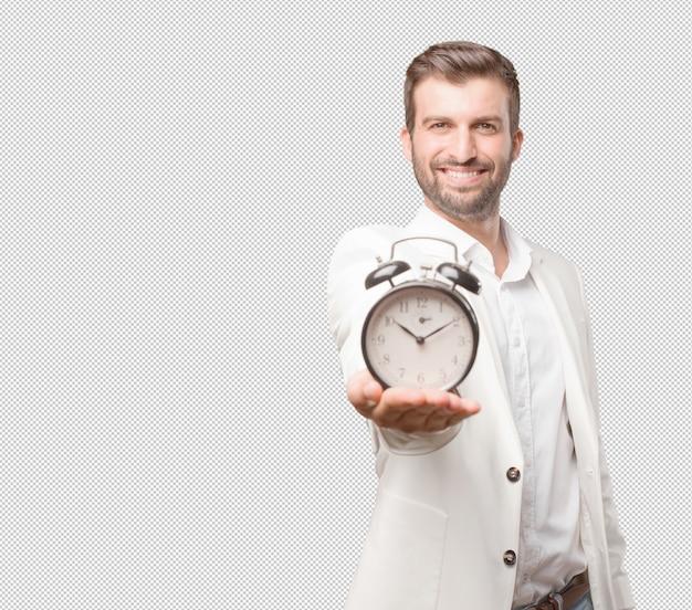 알람 시계를 가진 남자
