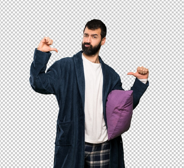 Man with beard in pajamas proud and self-satisfied