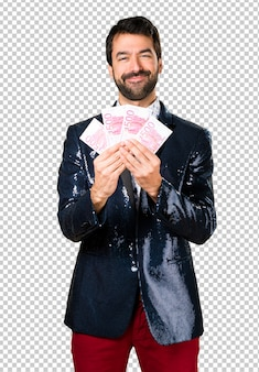 Man with jacket taking a lot of money