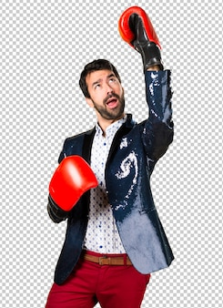 Man with jacket with boxing gloves