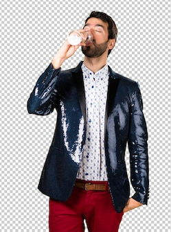Man with jacket with champagne