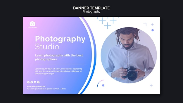 Man with modern camera banner web template