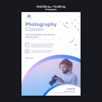 Man with modern camera flyer print template