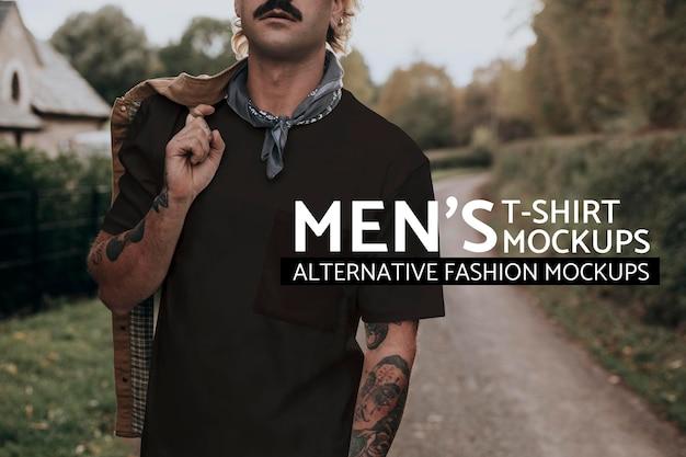 디자인 공간이 있는 검은색 티셔츠를 입은 콧수염을 가진 남자