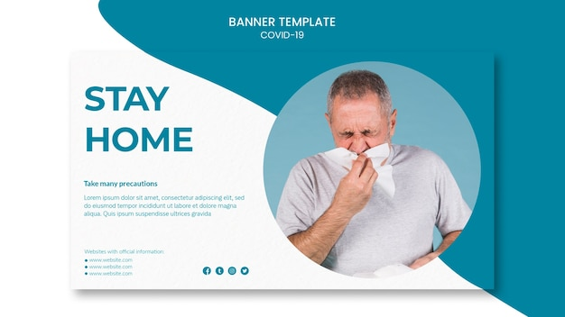 Man with runny nose covid-19 banner