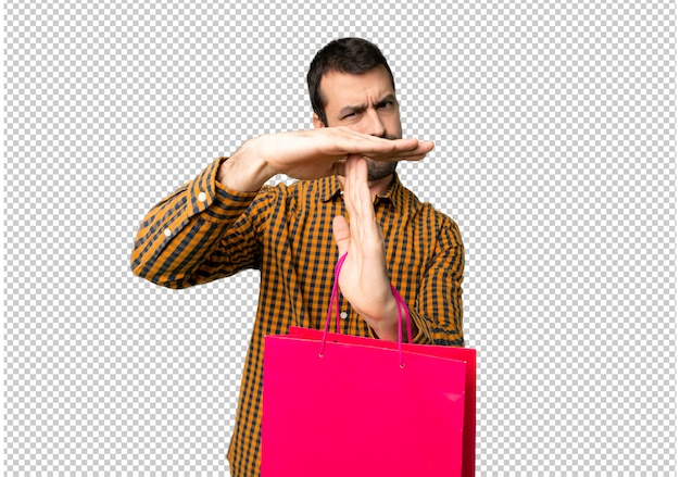 쇼핑백을 중지 행동을 중지 그녀의 손으로 제스처를 만드는 사람