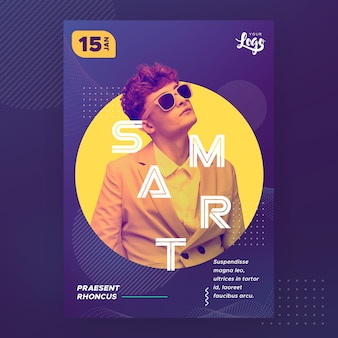 Man with sunglasses smart poster template