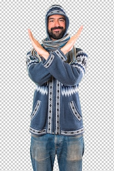 Man with winter clothes making no gesture