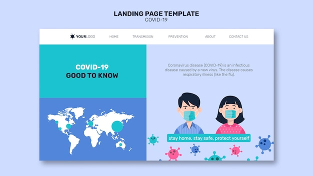 Man and woman with mask coronavirus landing page