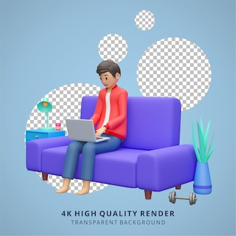 Man working on laptop stay at home illustration high quality 3d render