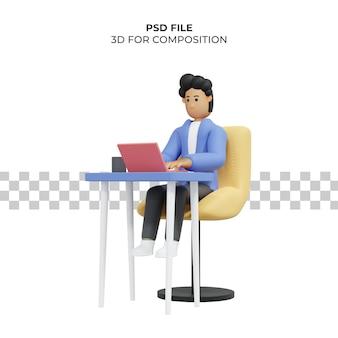 노트북 프리랜서 3d 일러스트를 사용하여 의자에 앉아 일하는 남자 premium psd