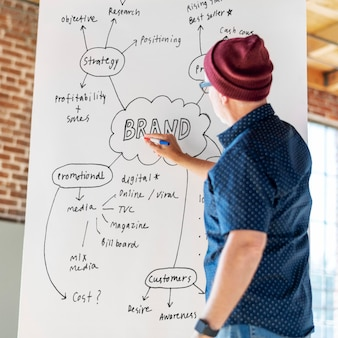 Man writing on a white poster mockup
