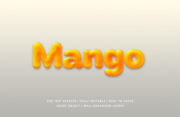 マンゴー3dテキストスタイル効果プレミアムpsd
