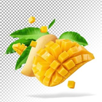 Mango fruit with mango cubes and slices isolated