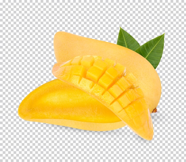 Mango with leaves isolated premium psd
