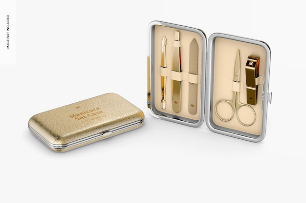 Manicure set case mockup, opened and closed