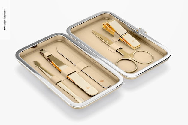 Manicure set case mockup, perspective Premium Psd