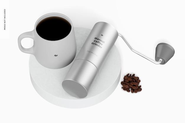 Manual coffee grinder mockup leaned
