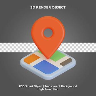 핀 아이콘 3d 렌더링 고립 된 프리미엄 psd와 지도