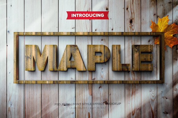 Maple wood text effect template
