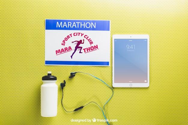 Marathon mockup with tablet