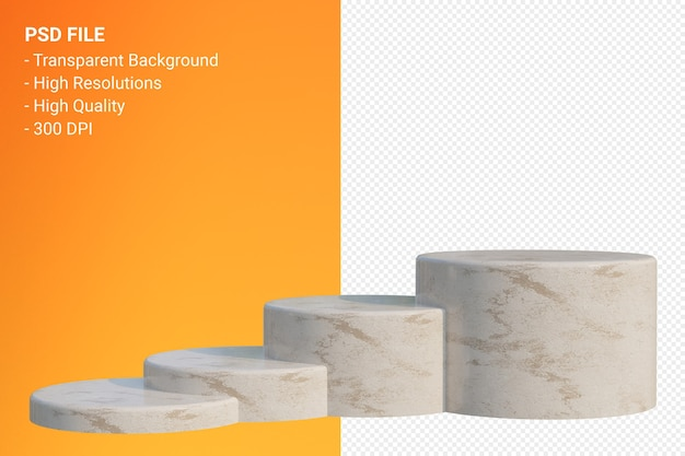 Marble podium minimal isolated for cosmetic product presentation