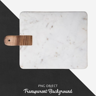Marble serving plate with wooden handle on transparent background
