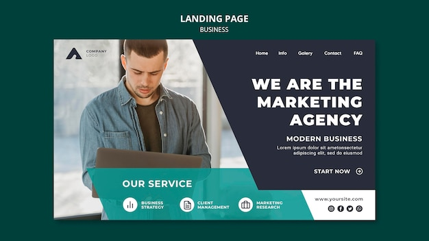 Marketing agency landing page template Free Psd