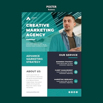Marketing agency poster template