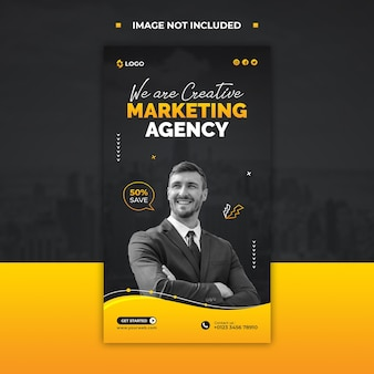 Marketing agency promotional instagram story or social media post template