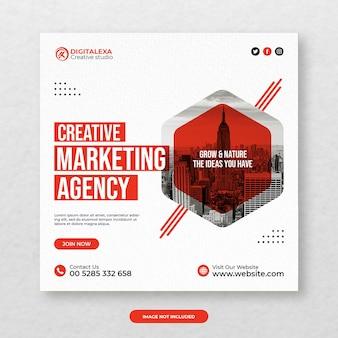 Marketing agency social media post template premium psd