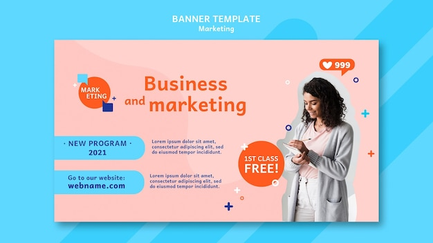 Marketing banner template with photo
